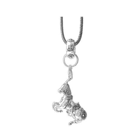 Harci ló- ezüstözött medál-viaszolt kötélen