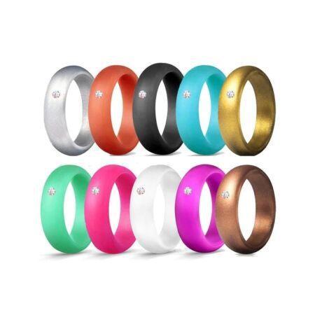 Kristályos - trendi szilikongyűrű - 10 db-os szettben - 5,7mm