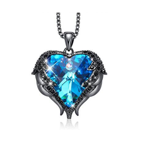 Angyalszárny - Swarovski kristályos nyakék - fekete - kék