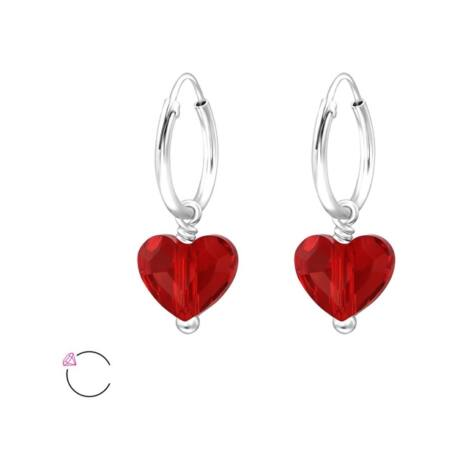 Heart- Swarovski kristályos fülbevaló -Light Siam