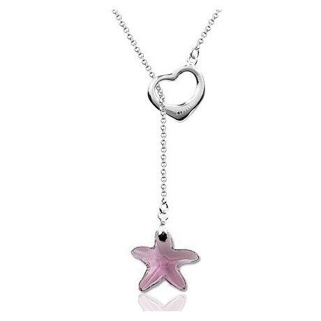 Szív és csillag - ezüst nyaklánc - Swarovski kristályos - rózsaszín