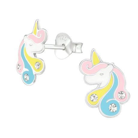 Unicorn- Swarovski kristályos gyerek fülbevaló -Egyszarvú - vintage
