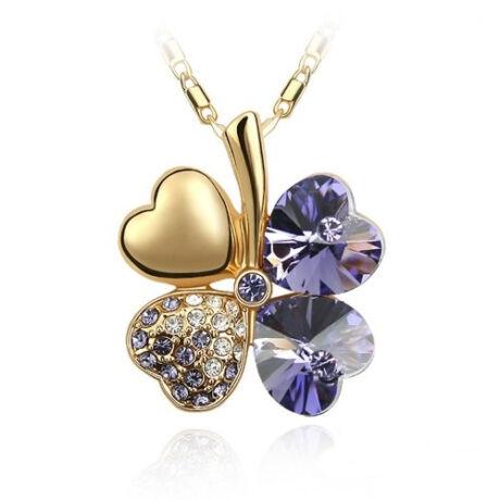 Arany szerencse - sötétlila - Swarovski kristályos nyaklánc