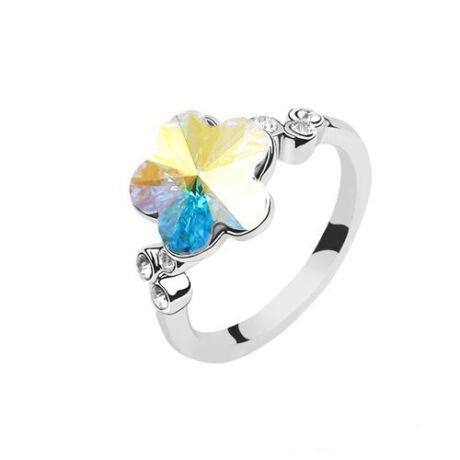 Színjátszós virág - Swarovski kristályos - Gyűrű - fehér