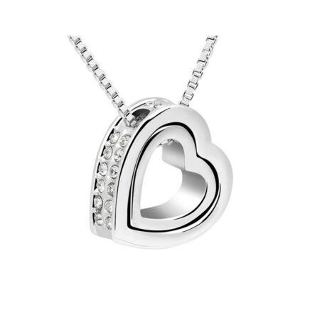 Szív a szívben - Swarovski kristályos - Nyaklánc - fehér