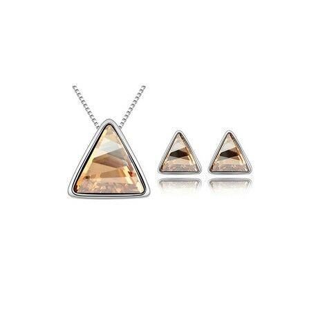 Borostyán háromszögek - Swarovski kristályos ékszerszett