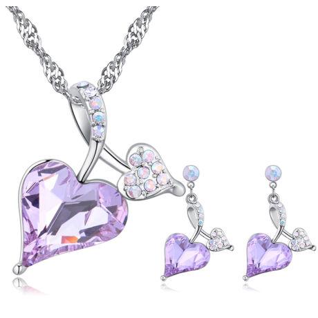 Avaron  - Swarovski kristályos ékszerszett - lila