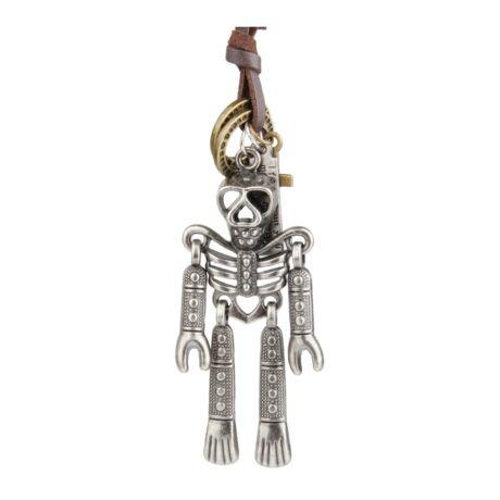 Valódi bőr férfi nyaklánc, ezüst színű, csontváz alakú fémmedállal, barna bőrrel