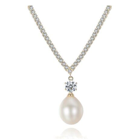 Celia- valódi gyöngy ezüst nyakék , cirkóniaköves AAA+