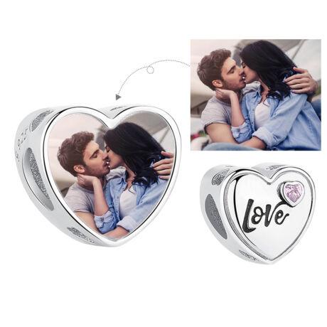 Fotó-charm készítés egyedi képpel - love felirattal - Pandora stílusú, 925 ezüstből
