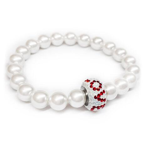 Swarovski gyöngy karkötő - White,  LOVE feliratú kristálydísszel - fehér