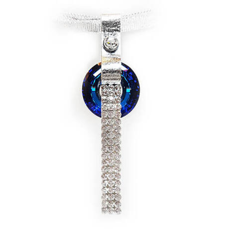 3 kősoros organza szalagos nyakék- Bermuda Blue- Swarovski kristályos -Disk Medál