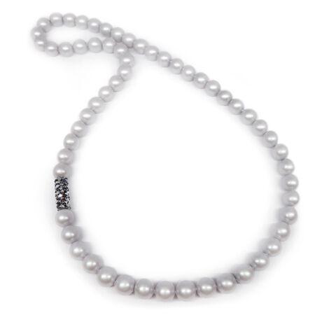 Swarovski gyöngy nyaklánc - Crystal Tube Silver night dísszel - ezüst