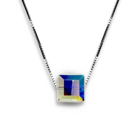 Csillámkocka - Swarovski kristályos ezüst nyaklánc