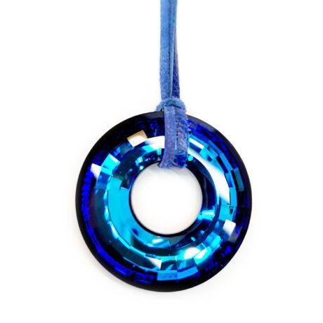 Galm nyakék - Swarovski kristályos - Disk Medál