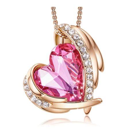 Pink Angel- Swarovski kristályos nyaklánc-rózsaszín-arany