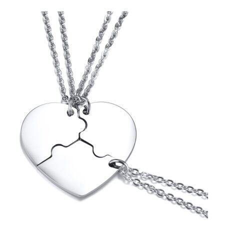 Szívpuzzle- tripla acél nyaklánc - ezüst