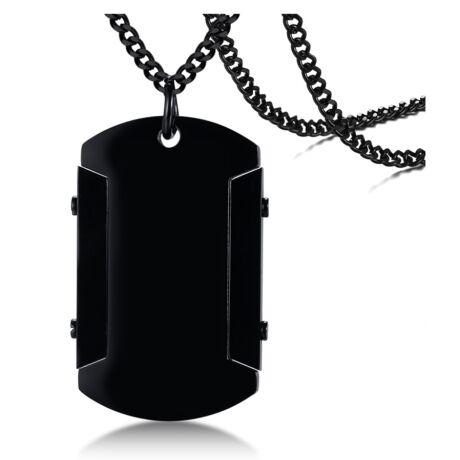 Gravírozható nemesacél medál lánccal fekete - téglalap - 42*26 mm