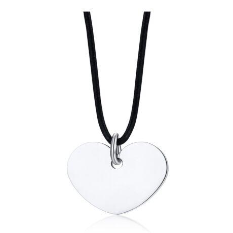 Gravírozható nemesacél medál -  szív alakú - viaszolt kötélen