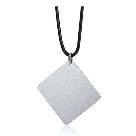 Gravírozható nemesacél medál viaszolt kötélen -  téglalap  alakú - ezüst