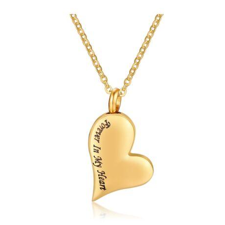 Örökké a szívemben- acél nyaklánc-hátlapon gravírozható-arany