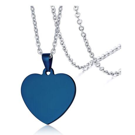 Gravírozható nemesacél medál -  szív alakú - kék
