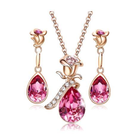 Rose Heart- Swarovski kristályos szett- rózsaszín