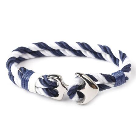 Anchorissime - Anchor horgony karkötő - ezüst-fehér-kék kötéllel