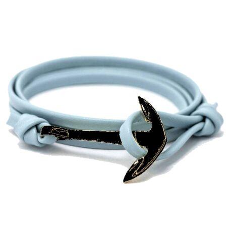 Anchorissime - Anchor horgony karkötő - fekete-világoskék műbőr