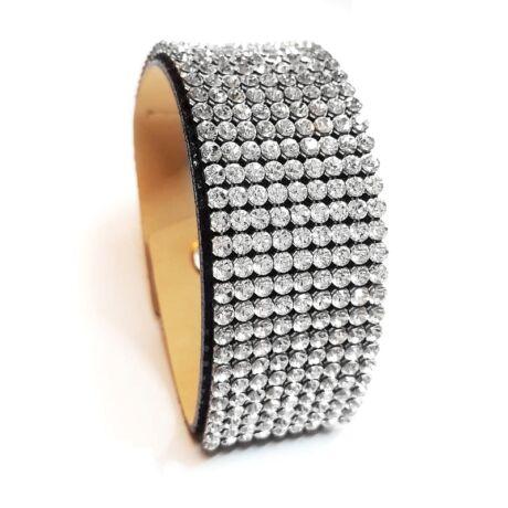 9 kősoros bőr karkötő- Crystal - Swarovski kristályos - fehér