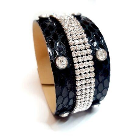 4 kősoros bőr karkötő- fehér-fekete bőr- Swarovski kristályos