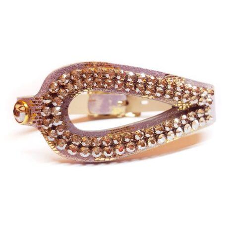 Csepp alakú bőr karkötő-- Golden Shadow  - Swarovski kristályos - arany