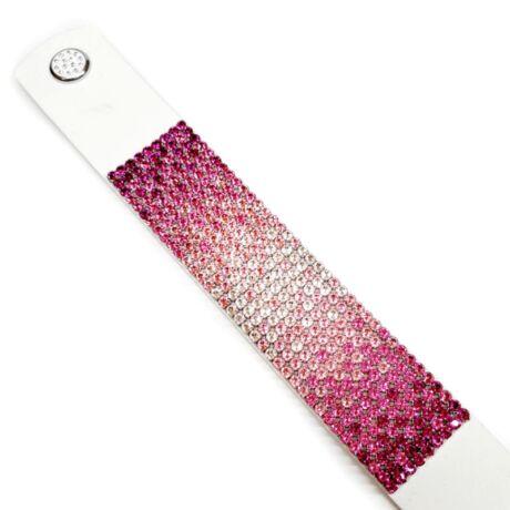 9 kősoros bőr karkötő - fuxia-babarózsaszín-fehér színátmenetes - Swarovski kristályos