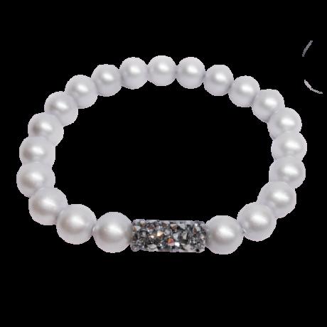 Swarovski gyöngy karkötő - Crystal Tube Silver night dísszel - ezüst