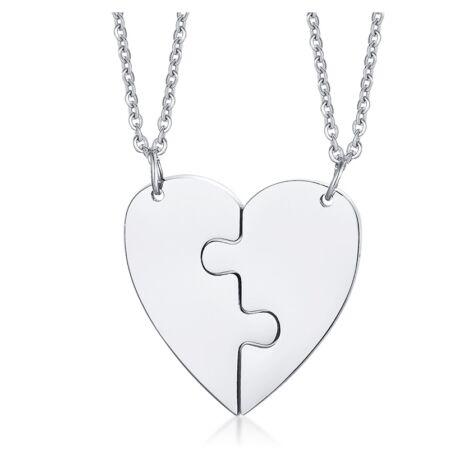 Szívpuzzle- páros acél nyaklánc - ezüst