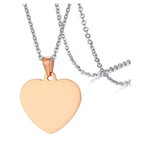 Gravírozható nemesacél medál -  szív alakú -rózsaarany