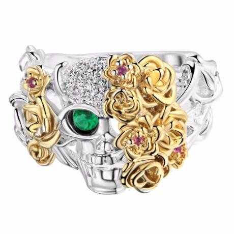 Virágkoponya -  divatgyűrű - zöld