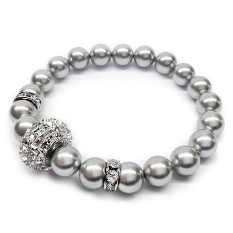 Swarovski gyöngy karkötő - Light Grey, nagyméretű kristálygömbbel, különleges, kocka alakú csiszolással - ezüst