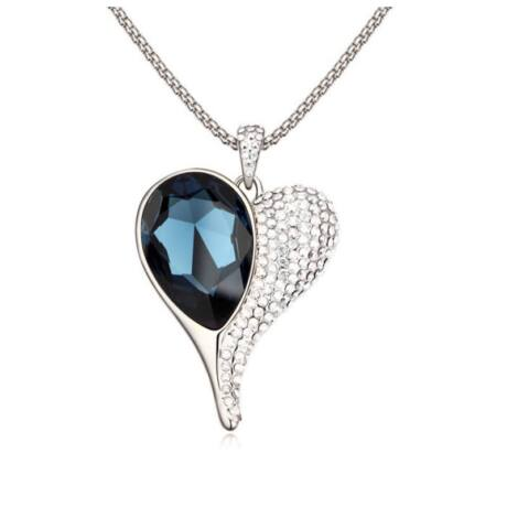 Csak egy szív...  - ezüst-kék- Swarovski kristályos nyaklánc