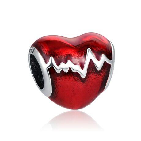 Pandora stílusú ezüst charm - Szívverés
