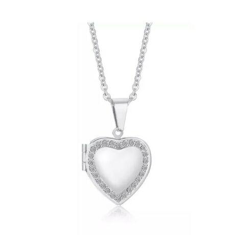 Nyitott szívem - nyítható köves acél nyaklánc