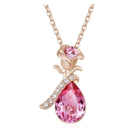 Rose Lover- Swarovski kristályos nyaklánc - rózsaszín