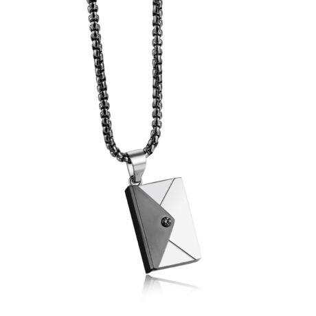 Valentin napi üzenet - gravírozható acél nyaklánc- fekete