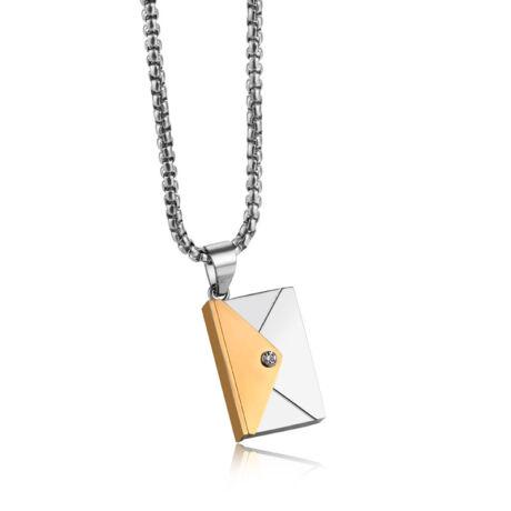 Valentin napi üzenet - gravírozható acél nyaklánc- arany