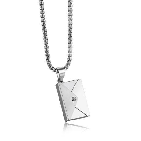 Valentin napi üzenet - gravírozható acél nyaklánc- ezüst