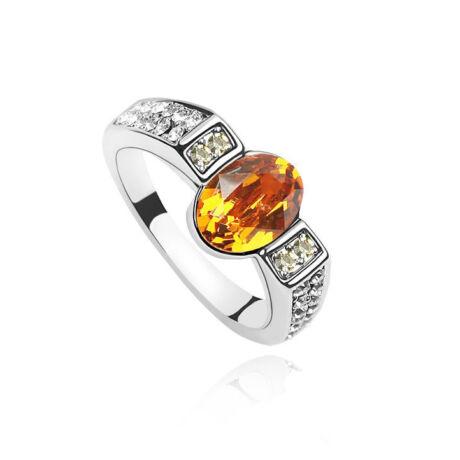 Borostyán kő - Swarovski kristályos - Gyűrű