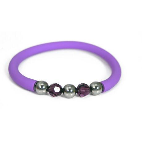 Toobe - Swarovski kristályos szilikon-nemesacél karkötő - Violet