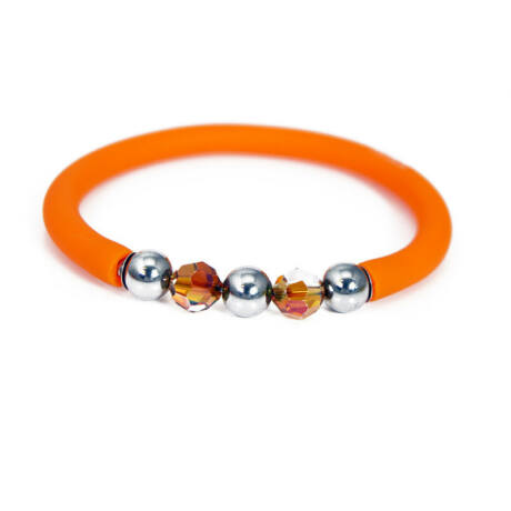 Toobe - Swarovski kristályos szilikon-nemesacél karkötő - Orange