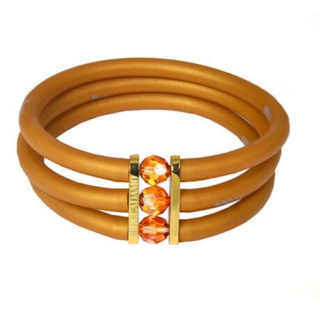 Toobe - 3 soros, Swarovski kristályos szilikon-bronz karkötő - Gold