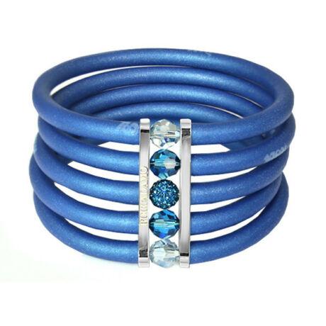Toobe - 5 soros, Swarovski kristályos szilikon-bronz karkötő - Blue